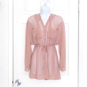 Salmon Pink Sheer button up Jacket cardigan